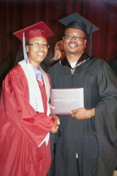 Ashley Hardmon, left, during her graduation from Austin High School in 2012.