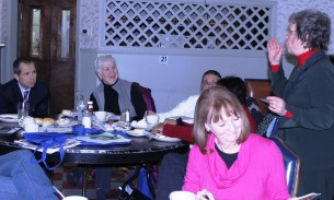 Bonni McKeown, author of the West Side Blues blog for Austin Weekly News, tells the group about her love for music.