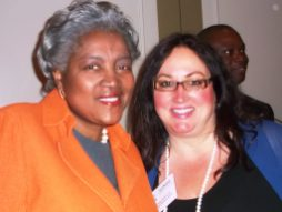 Donna Brazile, keynote speaker, with Dawn Ferencak, Associate Publisher of Austin Weekly News