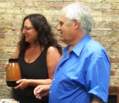 Dawn thanks George, owner of George's Restaurant at 145 Oak Park Avenue for donating his coffee.