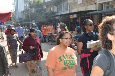Market Day: Austin resident Marquetta Monroe traverses the street markets of Mandalay, Myanmar during her Peace Exchange trip in December 2013. (Photos courtesy Peace Exchange program)