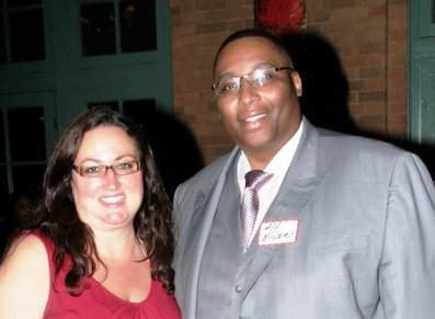 Associate Publisher of Austin Weekly News and Founder of the West Side Business Network Dawn Ferencak, with Alderman Jason Ervin