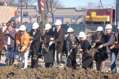 Dignitaries break ground at the site of the new By The Hand Club today, Friday, Jan. 29. Michael Romain.