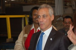 Mayor Rahm Emanuel during remarks he gave at the Feb. 4 ribbon-cutting at Freedman Seating. (Michael Romain/Editor).