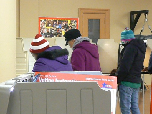 Voters punch in their picks at a polling place at Lafollette Park, 1333 N. Laramie Avenue. La Risa Lynch/Contributing Reporter.