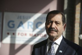 Giant steps: Garcia in his Woodlawn campaign office. (Chandler West/Staff Photographer)