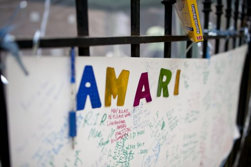 Part of a memorial that blossomed in the wake of 7-year-old Amari Brown's murder on July 4. William Camargo/Staff.