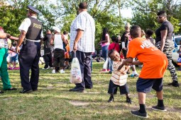 The children of Sharese Smith, Austin and Denim Smith, play at Moore Park, where National Night Out took place on Tue. August 4, 2015. | Alex Wroblewski/Contributor.
