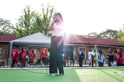 Joy Binion, 14, performs at Moore Park, where National Night Out took place on Tue. August 4, 2015. | Alex Wroblewski/Contributor.