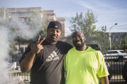 Derrick Green, 46, of CeaseFire, and Fred Williams, 45, left, at Moore Park on Tue. August 4, during National Night Out. | Alex Wroblewski/Contributor