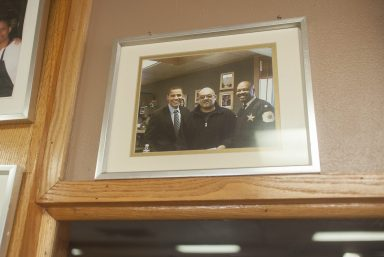MacArthur Alexander has met many famous and influential people in his career, but one of his favorites is President Barack Obama. Obama (pictured above with Alexander and a Chicago police officer in a photo inside MacArthur's Restaurant) wrote about Alexander in his 2006 book The Audacity of Hope.