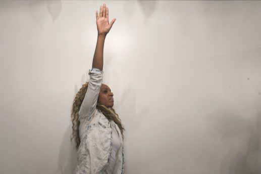 A woman enjoying a recent service at New St. Matthews Church, 5530 W. Harrison. The church's choir took 2nd place at this year's Ford Neighborhood Awards, which is sponsored by the Steve Harvey Show and State Farm Insurance. | Michelle Kanaar/Contributor.