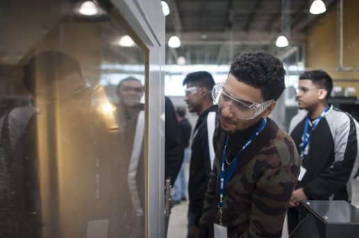 On Friday, Oct. 2, 2015, CPS students from the South and West Sides toured the Digital Manufacturing and Design Innovation Institute on Goose Island in order to explore career possibilities in the field of manufacturing.