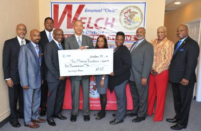 """Upper left: Phillip Jackson, Ex. Director,The Black Star Project, Bottom left: Rev. John Harrell (Representing Bishop Claude Porter), Proviso-Leyden Council for Community Action, Inc. (PLCCA), Upper top: Sam Balark, Director, External Affairs, AT&T., Paul A. Labonne, Chair, The Monroe Foundation & Vice President & CRA Officer, PNC, Illinois, Otis C. Monroe, III, CEO, The Monroe Foundation, Stacey Woods Financial Coach, The Stable Project, Athena Williams, Project Manager, The Monroe Foundation, OS Owen, Credit Builder Coach, The Stable Project, Debra Vines, Ex. Director, The Answer, Inc. and The Honorable 7th District Illinois State Representative Emanuel """"Chris"""" Welch."""