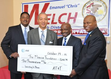 "Left to right: Sam Balark, Dir., External Affairs AT&T, Otis Monroe, III, CEO, The Monroe Foundation, Paul A. Labonne, Chair, The Monroe Foundation & VP And CRA Officer for PNC, Illinois, 7th District Illinois State Representative, Emanuel ""Chris"" Welch."