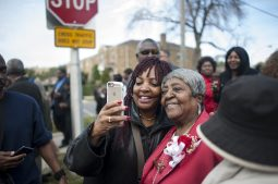Lillian Drummer takes a selfie with a supporter during a ceremony Thursday, Oct. 22, 2015, which designated a portion of Congress Pkwy. Honorary Lillian Drummond Pkwy. | William Camargo/Staff.