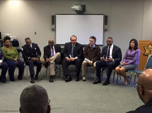 Cook County Commissioner Richard Boykin, second from left, gathered along with various elected officials, for a violence prevention round-table discussion at the Sheriff's headquarters in Maywood on Monday, Oct. 27. | Submitted photo.