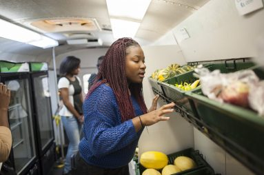 Ciana Talmadge looks at fruit and vegetables inside the Growing Power Bus, a vehicle that delivers fresh, aaffordable produce to food deserts throughout Chicago. The vendor was among several at a Nov. 14 urban agriculture expo in W. Garfield Park. | William Camargo/Staff.