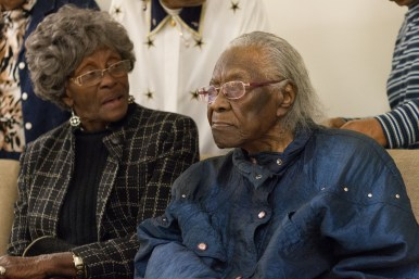 Ruth Bell Watkins-Pritchett sits with her longtime friend and relative Lizzie Mathis during a Nov. 19 appreciation lunch in Austin. | Stacey Rupolo/Contributor