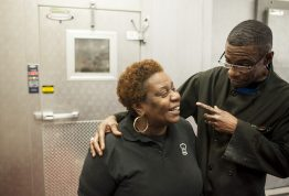 Valerie Wilmington, the former server at Inspiration Kitchens in East Garfield Park, talks with Arnold Smith, one of the program's graduates. | William Camargo/Staff.