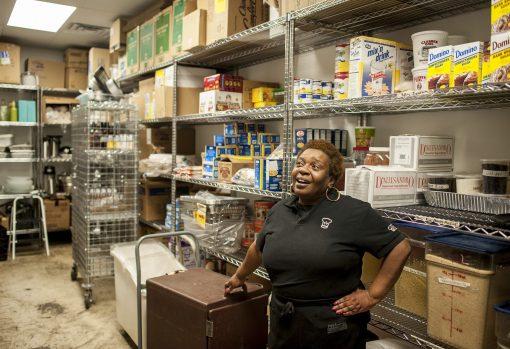 Valerie Wilmington stands in Inspiration Kitchens's pantry in December 2015. | William Camargo/Staff.