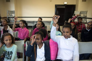 Students with the Chicago Children's Choir's Austin neighborhood choir during a March 16 rehearsal at Austin Town Hall. The choir, which formed in January, is looking for more members.