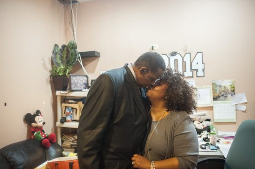 Rev. Joseph Kyles and Chrystal Kyles, his wife of 28 years, share a romantic moment in her church office on April 7. | William Camargo/Staff