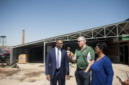 Richard Boykins and Alderman Emma Mitts joined on the westside to celebrate the expansion of manufacturing company Allied Metal Company and Again Auto Parts on Friday April 15, 2016.
