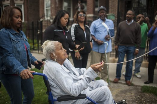 Alma Richmond unveils an honorary street sign, Alma Richmond Way, on the 3900 block of West Monroe Street, during a small ceremony on April 21. | William Camargo/Staff