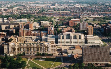 An aerial view of the Cook County central medical campus, which includes the old Cook County Hospital. Last week, the Cook County Board of Commissioners voted to rehab the 102-year-old building, commencing a project that could create more than 5,000 new jobs. Commissioner Richard Boykin (1st), who voted against the project, says it won't do enough for large parts of his district, which includes Austin. | Courtesy Cook County