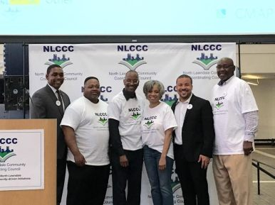State Rep. Arthur Turner, Dr. Dennis Deer, Rodney Brown, Valerie F. Leonard, Ald. Michael Scott, Jr. (24th) and Cook County Commissioner Robert Steele (2nd) at the NLCC's planning conference earlier this year. | Norvell Tolbert