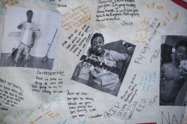 Photos of Oak Park resident Elijah Sims, 16 who was shot in Austin on Aug. 29 and died the next day, one day before his 17th birthday. Sims' death has prompted vigorous discussion in both Oak Park and Austin about the stark difference between the two communities and the reasons for that divide. | William Camargo/Staff
