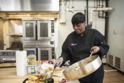 Patty Ringo makes a quick lunch at Chicago Kitchen in Chicago on December 16, 2016. Patty has a catering company that caters at local west side Chicago churches.