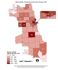 A map created by UIC's Great Cities Institute detailing the location of retail jobs in 1970. | Great Cities Institute