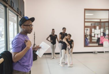 Christopher Jackson, an instructor with the famed Alvin Ailey Dance Theater, guides dancers through the third act of 'Sleeping Beauty.' | William Camargo/Staff