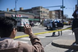 The scene of a murder in Austin on April 7. One man was killed and several bystanders were wounded when the occupants of a gray or white vehicle drove by Corcoran Grocery and began shooting in the middle of the day. | William Camargo/Staff