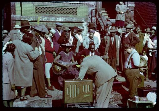 Maxwell Street blues musicians perform during the 1950s. | Charles Weever Cushman, 1896-1972