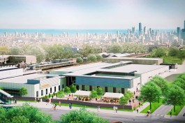INCUBATING: Top, an architectural rendering of the Hatchery in East Garfield Park, which is scheduled to be complete by fall 2018. Below left, work on the construction site has started. Right, Chicago Mayor Rahm Emanuel and other elected officials and community leaders break ground on construction on. Oct. 24.