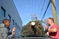 Ben Olson, right, of Hoffman Estates, helps Joshua Taylor, left, 13, of Chicago, load a tree on top of his families vehicle last Saturday during a Christmas Tree giveaway at By The Hand Club For Kids on Laramie Avenue in Chicago's Austin neighborhood. | ALEXA ROGALS/Staff Photographer