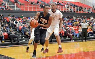 Orr's Emanuel O'Neal (2) dribbles the ball on Friday, during a game against Uplift at the 57th annual Proviso West Holiday Tournament at the school's campus in Hillside. | ALEXA ROGALS/Staff Photographer