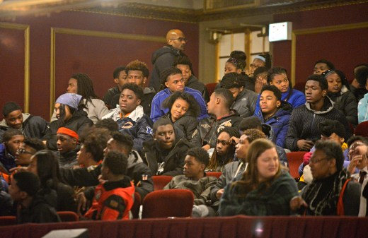 Students from Michele Clark Magnet High School take their seats before the Hamilton performance last Wednesday, during the Hamilton's Education Program at the CIBC Theatre on Monroe Street in downtown Chicago. | ALEXA ROGALS/Staff Photographer
