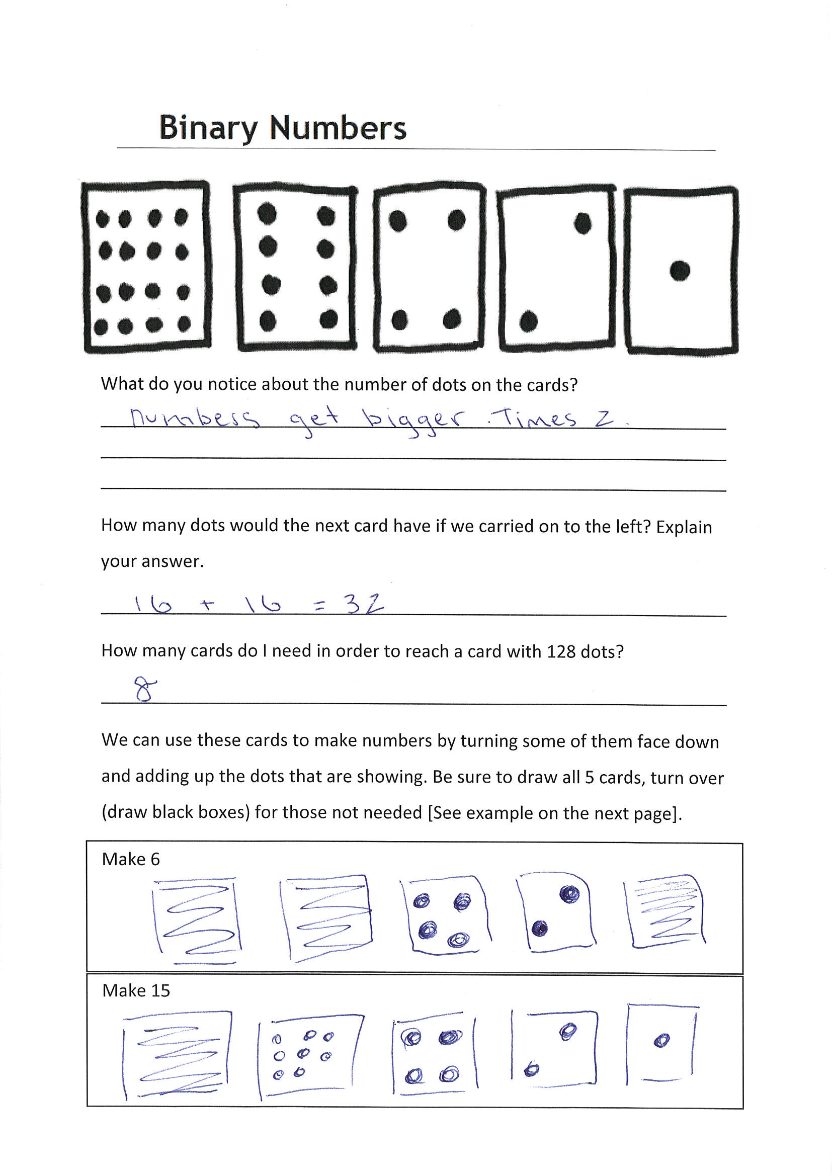 Binary Numbers Worksheet