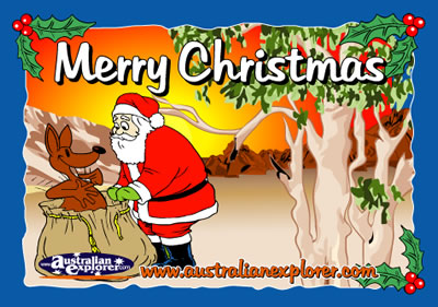 CHRISTMAS OUTBACK SETTING WITH SANTA VIRTUAL POSTCARD