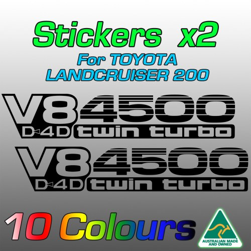 V8 D4D 4500 twin turbo stickers for LandCruiser 200