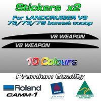 V8 WEAPON bonnet scoop stickers for the Landcruiser 70 V8