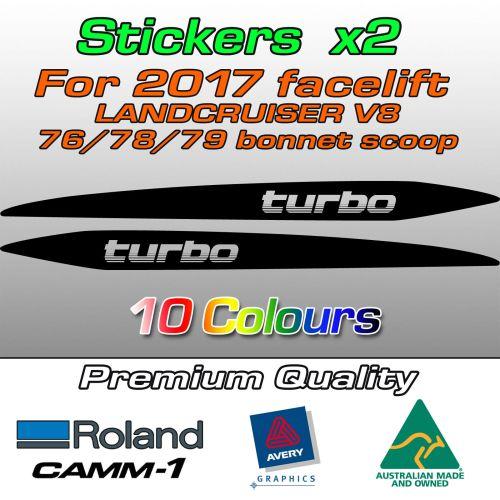 """""""turbo"""" bonnet scoop stickers for Landcruiser 70 V8"""