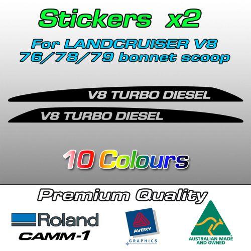 Landcruiser V8 bonnet scoop stickers V8 TURBO DIESEL