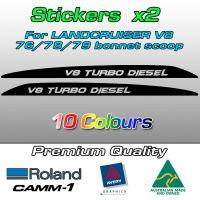 Landcruiser V8 bonnet scoop stickers V8 TURBO DIESEL batman font