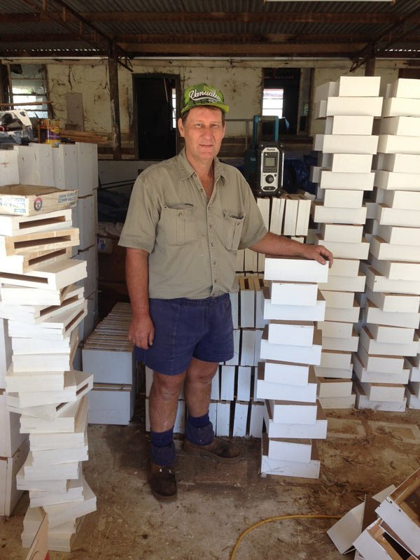 Russel Zabel with his bee boxes