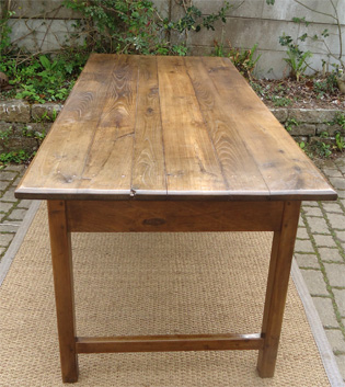 Grande Et Robuste Table Ancienne De Ferme Plateau Et Pieds